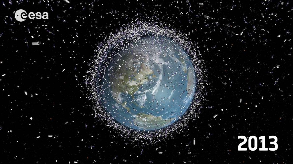 Ejemplo gráfico de la cantidad de basura espacial que había en 2013, según la ESA