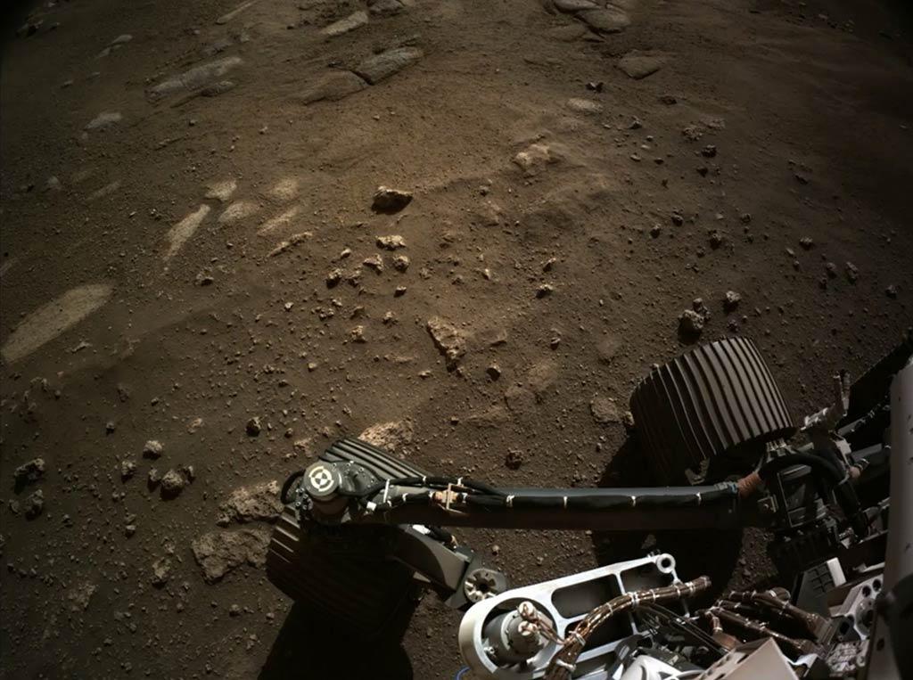 Lateral del rover Perseverance sobre suelo marciano. (NASA/JPL-Caltech)