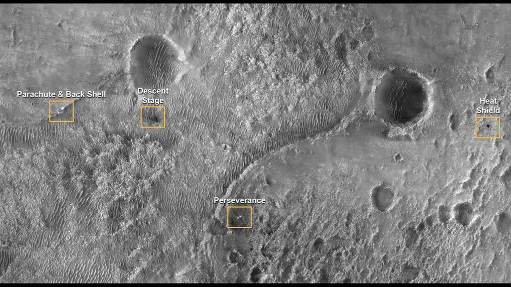 Ubicación de aterrizaje de las múltiples etapas del Perseverance, visto desde el orbitador MRO. (NASA/JPL-Caltech)