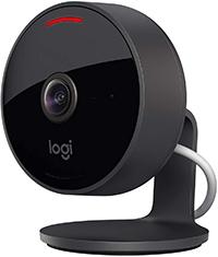 Logitech Circle View Cámara de seguridad doméstica con cable resistente a la intemperie, angular de 180°, HD 1080p, visión nocturna, audio de dos vías, con cifrado y Apple HomeKit Secure Video - Negro