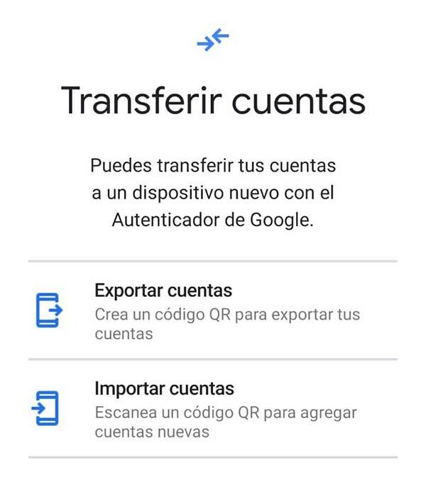 Transferir cuentas Google Authenticator