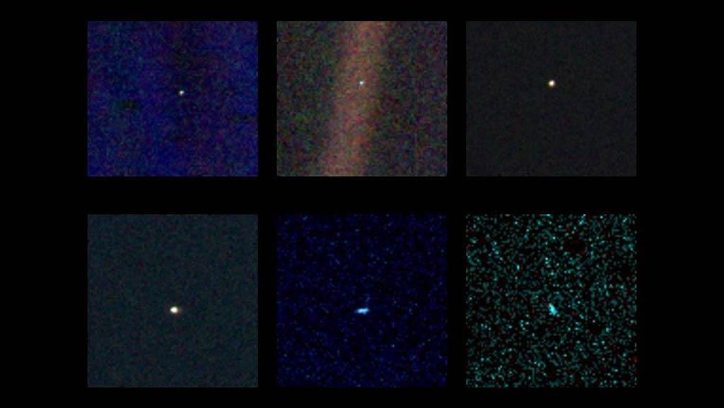 Distintas composiciones de la imagen tomada por la Voyager 1 de la Tierra