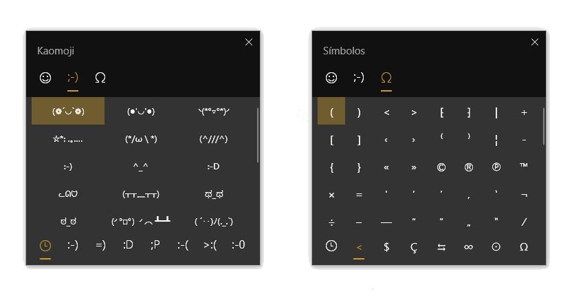 Teclado de kaomojis y símbolos en Windows 10