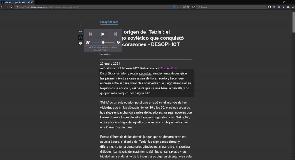 Texto a voz en Mozilla Firefox