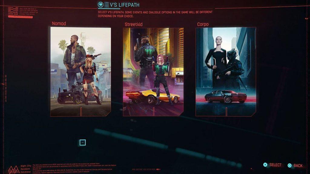 Lifepaths de 'Cyberpunk 2077'