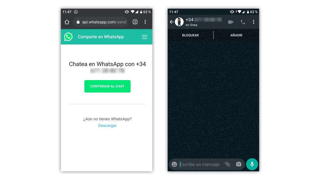 Conversaciones de WhatsApp sin agrega rnúmero